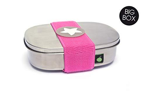 *kjomizo I do Dotty BIGBOX schadstofffreie Edelstahl Brotdose mit Trennsteg und Klettmotiv zum Individualisieren für Kindergarten und Schule PINK*
