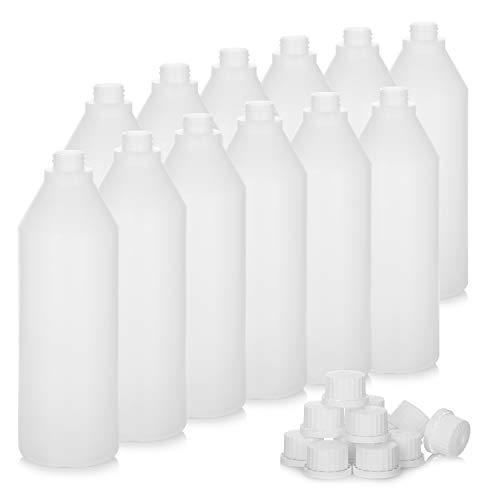 com-four 12x Botella de plástico HDPE 1035 ml - Botella de Laboratorio para el llenado de Limpieza, higiene y detergentes - Botella química con tapón de Rosca 28/400 - Botella vacía (1035ml)