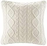 Knit Decorative Throw Pillow Cover Sweater Square Warm Cushion Cover for Couch, Bed, Home Accent Decor (Cream, (18x18 inches(45x45cm))