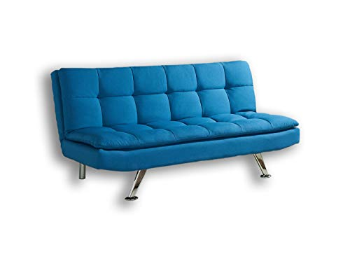 Modern Fabric 3 Seat Sofa Bed with Chrome Legs in Choice of Five Stylish Colours (Blue)