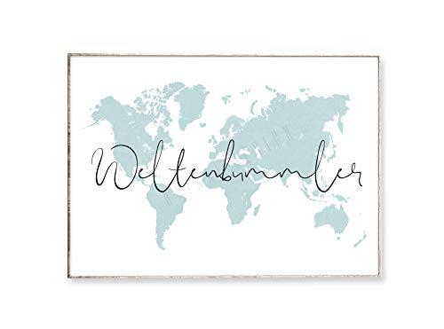 DIN A4 Kunstdruck Poster WELTENBUMMLER -ungerahmt- Typografie, Reisen, Spruch, Bild, Weltkarte