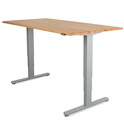 Staboos Höhenverstellbarer Bürotisch 70-130 cm, Buche geölt, 160x80x25, Gestell Silber Schreibtisch Elektrisch - Massivholz Stehschreibtisch - Height Adjustable Office Desk - Steh Schreibtisch