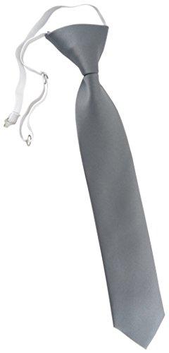 TigerTie Kinderkrawatte in grau Uni - Krawatte vorgebunden mit Gummizug
