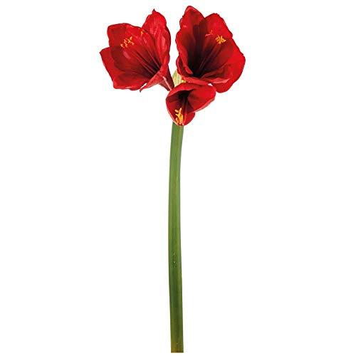 matches21 Amaryllis Dekoblume künstlich Blüten Blume Zweig Kunstzweig Kunstblume Stielblume Ritterstern 1 STK - rot