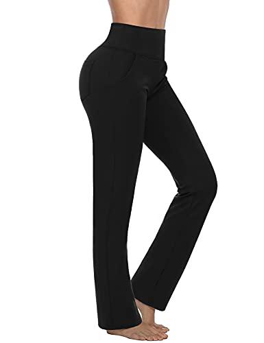 Sykooria Yogahose Damen Bootcut Slim Fit Schlaghose High Waist Jazzpants Flare Fitness Hose Jogginghose mit Taschen