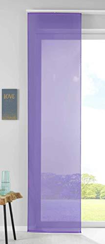 1er Set Schiebegardine Flächenvorhang Vorhang Gardine Voile HxB 245x60 cm Lila Komplett mit Paneelwagen Beschwerungsstange, 85589N
