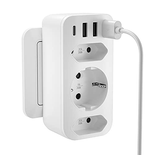 Kinglink USB Enchufe [4000W], Enchufe USB Multiple (5V / 3.4A), Enchufe Multiple Adaptador con 1 Toma de CA + 2 Enchufes EU + 4 Puertos USB, Adaptador de Enchufe para Iphone, Oficina