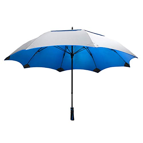"""SunTek Solaire 62"""" Reflective UV Sun Protection Wind & Weather Resistant Vented Double-Canopy Umbrella (Blue)"""