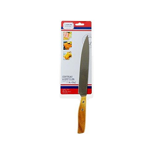 Totally Addict KD3222 Couteau 20CM EFFILER avec Manche en Acacia, Bois + INOX, Marron, 32 x 2,9 x 1,5 cm