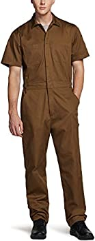 CQR Men s Short Sleeve Zip-Front Coverall Twill Stain & Wrinkle Resistant Work Coverall Action Back Jumpsuit with Multi Pockets Short Sleeve two603  - Brown Medium