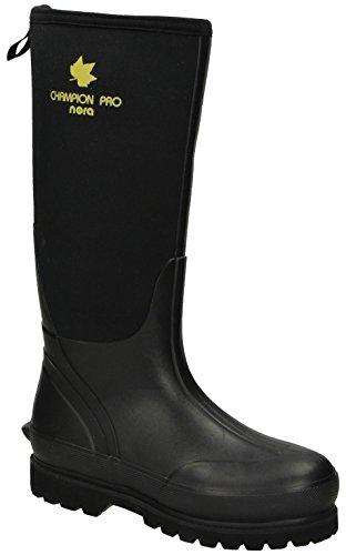 Nora Nora 7962111 Champion PRO Unisex-Erwachsene Gummistiefel, Regenstiefel, Boots mit Neopren Schwarz (Black), EU 45