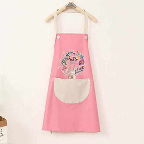 YUEZPKF Hermoso Cocina Cocina Delantal del hogar Impermeable y a Prueba de petróleo Femenino Moda Linda Cintura Coreana Monos Mono-Rojo con Halter Negro (Color : Pink with Gray Hanging Neck)