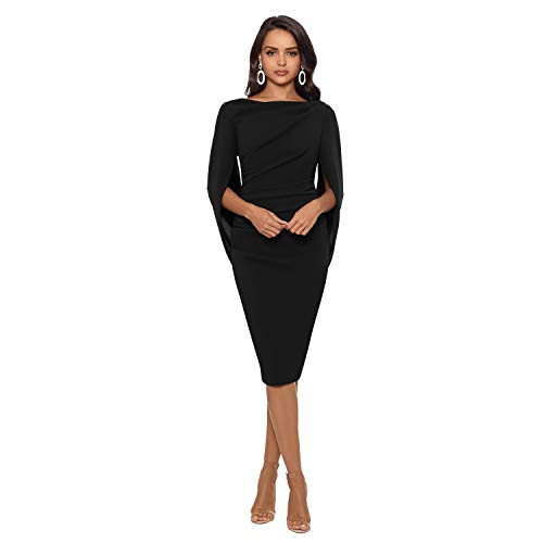 Betsy & Adam Short Cocktail Dress Form Fitting - Draped Back and Sleeves – Party Wear Dress (Black, 6)