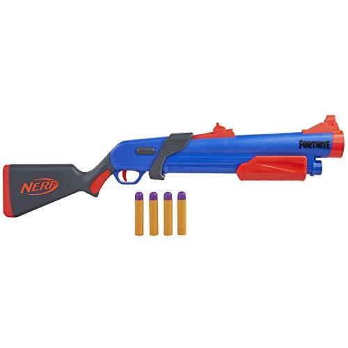 NERF Fortnite Pump SG Blaster -- Pump Action Mega Dart Blasting -- Breech Load -- 4 Official Mega Darts -- for Youth, Teens, Adults