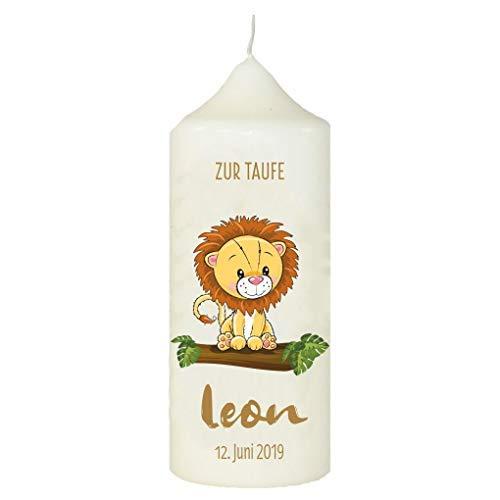 Mein Zwergenland gepersonaliseerde kaars voor de doop met naam en datum motief 24, leeuw op boomstam
