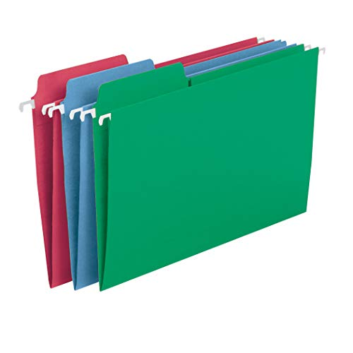 Smead FasTab Hanging File Folder, 1/3-Cut Built-in Tab, Legal Size, Assorted Primary Colors, 18 Per Box (64153)