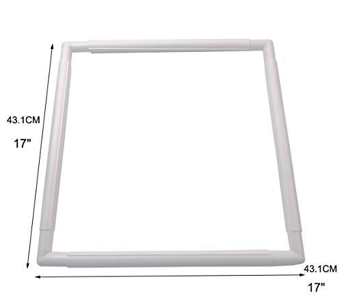 Plastic Cross Stitch Frame Square Embroidery Hoop White DIY Sewing Tools Sewing Hoop Handhold Craft Clip Embroidery Snap Frame Hoop for Cross Stitching Quilting (E: 17 X 17')