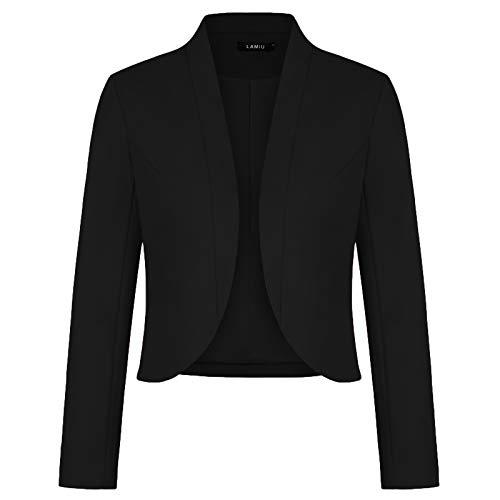 Women Long Sleeve Blazer Open Front Cardigan Jacket Work Office Blazer (Black-Size 2XL)