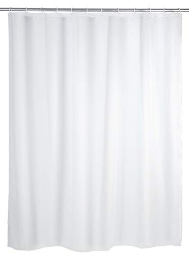 WENKO Duschvorhang Uni Weiß 180 x 200 cm - wasserdicht, pflegeleicht, Polyethylen-Vinylacetat, 180 x 200 cm, Weiß