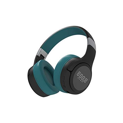 KJCHEN Auriculares inalámbricos Bluetooth Auriculares, Correr, Correr, reducción de Ruido Activo, teléfono móvil estéreo Universal Electric Game Hombres y Mujeres Cómodo Plegable (Color : Green)