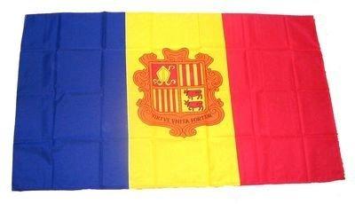 Fahne Stockflagge Andorra Wappen NEU 30 x 45 cm Flaggen