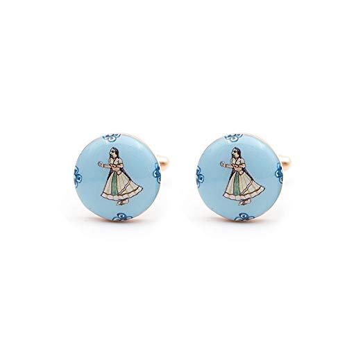 Rosec Jewels Art Deco Manschettenknöpfe, handbemalt, Folk-Tanz-Manschettenknöpfe, emailliertes Messing, Metall, Manschettenknöpfe für Herren, klassisches Hochzeitsgeschenk