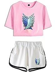 Pyjama's Anime Cartoon Attack On Titan Heren Casual Sportkleding Unisex Bedrukte Korte T Shirt Shorts Set