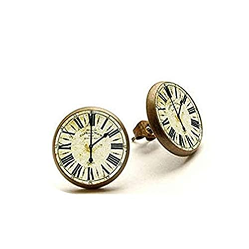 Youkeshan Reloj vintage – Pendientes hechos a mano – Pendientes de reloj – Reloj – Joyería de relojes