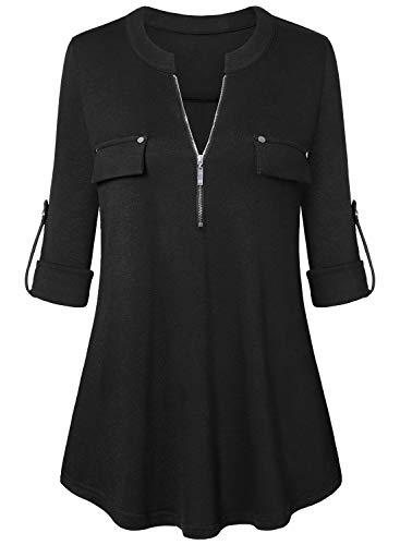 Amrto Damen V-Ausschnitt Bluse 3/4 Ärmel Tunika Reißverschluss Langshirt Langarm Hemd Tops T-Shirt Oberteile, Schwarz X-Large