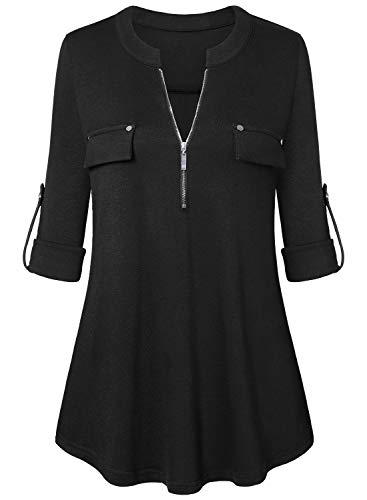 Amrto Damen V-Ausschnitt Bluse 3/4 Ärmel Tunika Reißverschluss Langshirt Langarm Hemd Tops T-Shirt Oberteile, Schwarz XX-Large