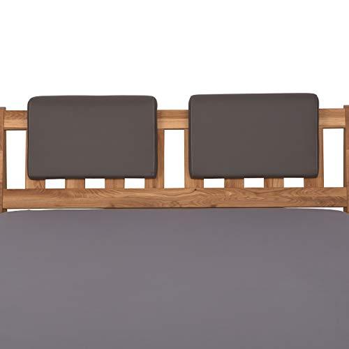 Staboos 2er Set Leder Polster-Steckkissen für Bettkopfteil zum einhängen, Rückenlehne für Bett mit Kopfteil, SK01 (grau)