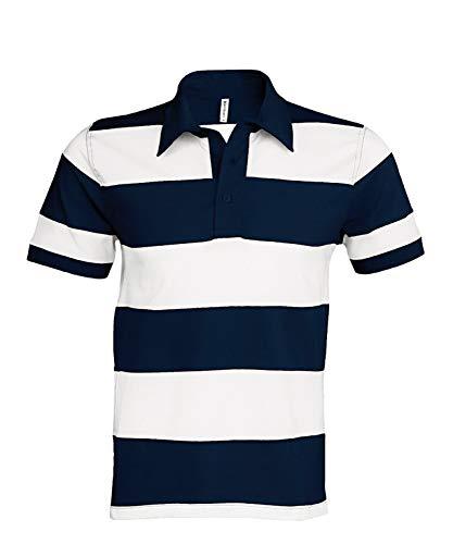 Ray Zweifarbiges Streifen Polohemd - Farbe: Navy/White - Größe: M
