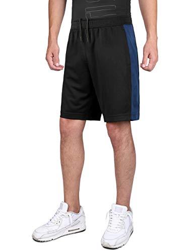 DISHANG Pantaloncini da Basket Performance da Uomo Attivi da Ginnastica Leggeri da Allenamento Atletici con Tasche Laterali Design a Rete (Nero 1, M)