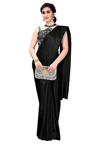 RAGHUKUL Plain Black Satin Silk Bollywood Saree For Women (Black, Free Size)