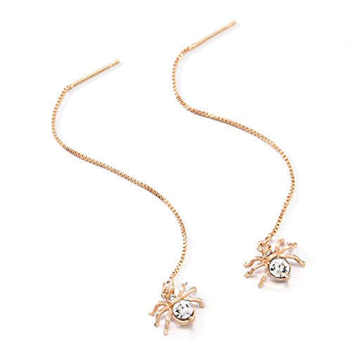 TLBB Pendiente de la Cadena Larga del Colgante de la araña del Cristal de la Moda Pendientes de la aleación de los Pendientes para Las Mujeres (Metal Color : Gold)