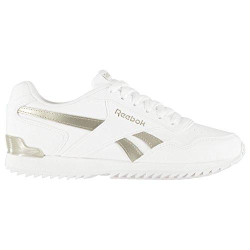 Reebok Damen Royal Glide Ripple Clip Leder Turnschuhe Sneaker Sportschuhe Weiß/Gold 5.5 (38.5)