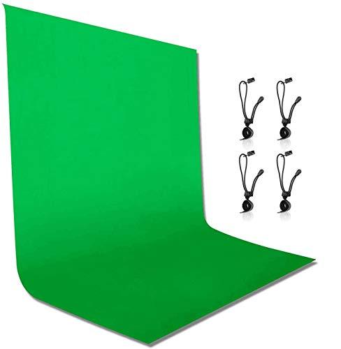 Emart 1,8X2,8M Fotohintergrund,GRÜN Musselinhintergrund Leinwand für Foto-/Video-Studio, 4 x Hintergrundklemme