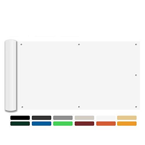 Ziligengsheng Terrassen Sichtschutz 140x400cm,atmungsaktiv,pflegeleichtes,für Gartenzaun Balkonzaun, Weiß