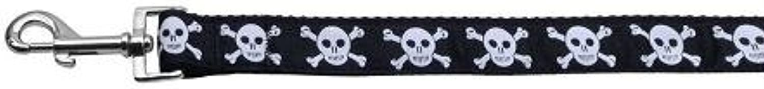 Mirage Pet Products Skulls Nylon Ribbon Dog Collar with 1Inch by 4Feet Leash