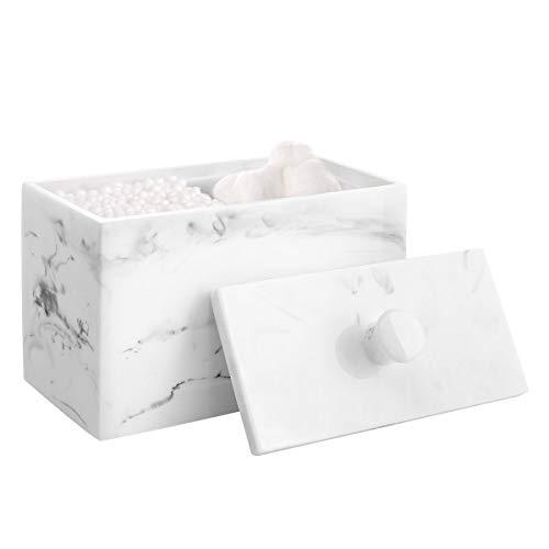 Luxspire Harz Wattepadspender Wattestäbchen Halte, Make up Organizer Aufbewahrungsbox mit Deckel für Badesalz Q-Tips, Baumwollbehälter für kosmetisches 2 Fächern Kosmetik Aufbewahrungsglas, Tinte Weiß