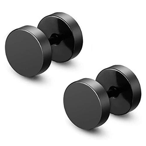 2 pendientes JZZJ de tuerca redonda de acero inoxidable, en forma de pesas para hombre(acero inoxidable)