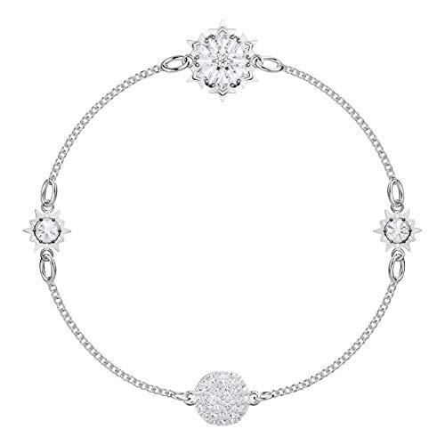 Swarovski Remix Snowflake Strand Armband, Rhodinierter, Damenschmuck mit Funkelnden Swarovski Kristallen, Erweiterbar zum Armband, Choker, oder zur Halskette