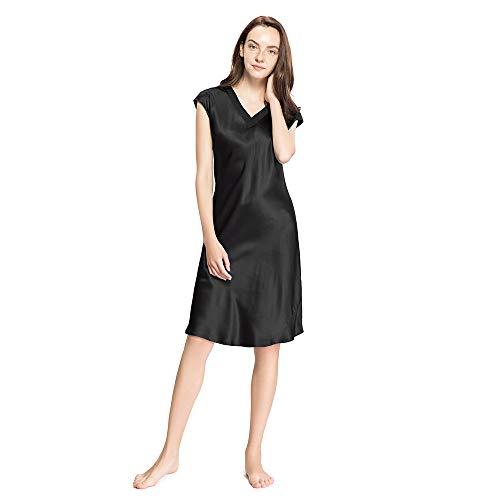LilySilk Charment Seide V Ausschnitt Nachthemd Nachtkleid Damen Lang 22 Momme Schwarz M