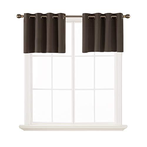 Deconovo Kitchen Window Blackout Valances Window Treatment Valane Tier Curtains for Window 52x18 Inch 2 Panels Brown