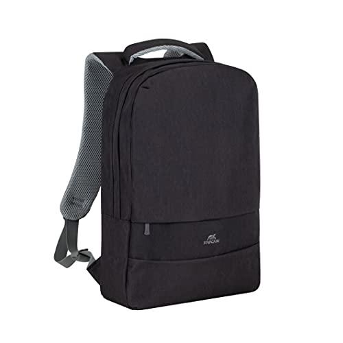 RIVACASE Zaino per laptop con porta di ricarica USB, di alta qualità, impermeabile fino a 15,6 pollici, zaino da città, Business Backpack/7562 Prater nero