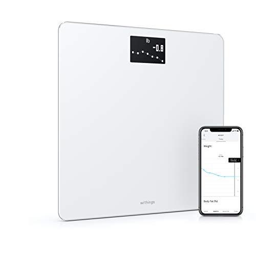 Withings Body Báscula inteligente con conexión Wi-Fi y seguimiento del IMC, báscula digital de baño con sincronización con la aplicación móvil por Bluetooth o Wi-Fi, Blanco