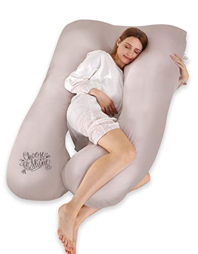 SALAD HOUSE U-förmiges Schwangerschaftskissen Seitenschläferkissen Lagerungskissen mit Abnehmbarem und Waschbarem 100% Baumwolle 320TC Stickerei Design (Moonbeam, 140 x 80 cm)