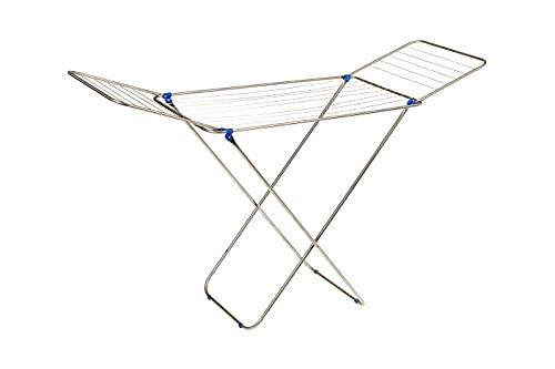 Tendedero Plegable de Suelo con alas en INOX | Superficie de tendido de 18 m | Tendedero Plegable y Antideslizante | para Interior y Exterior | 52 x 180 x 106 cm (PELICANO)