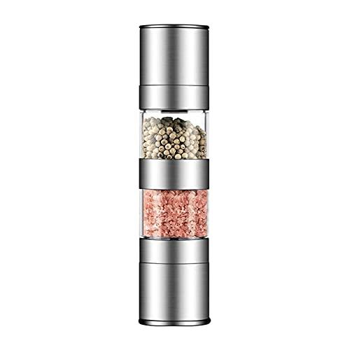 HFFSGS Conjunto de Molinillo de Sal y Pimienta de 2 en 1, Molinillo de Sal de Acero Inoxidable con Rotor de cerámica Ajustable, Molinillo de Sal y Pimienta, Jarra de Especias de Doble molienda