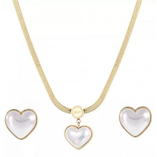 Moda Collar Joyas Gargantilla Collar de perlas de amor de acero inoxidable, conjunto de pendientes, cadena de hueso de serpiente, acero de titanio, color dorado, conjunto de joyas en forma de corazón